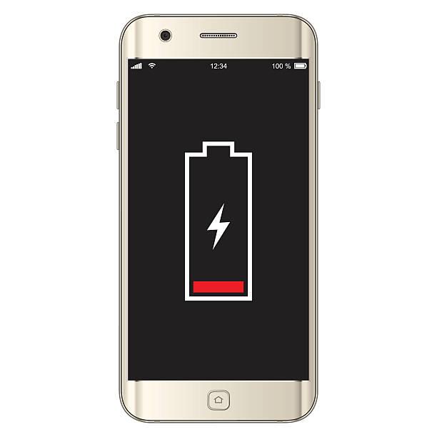 Vektor-Smartphone Batterie schwach – Vektorgrafik
