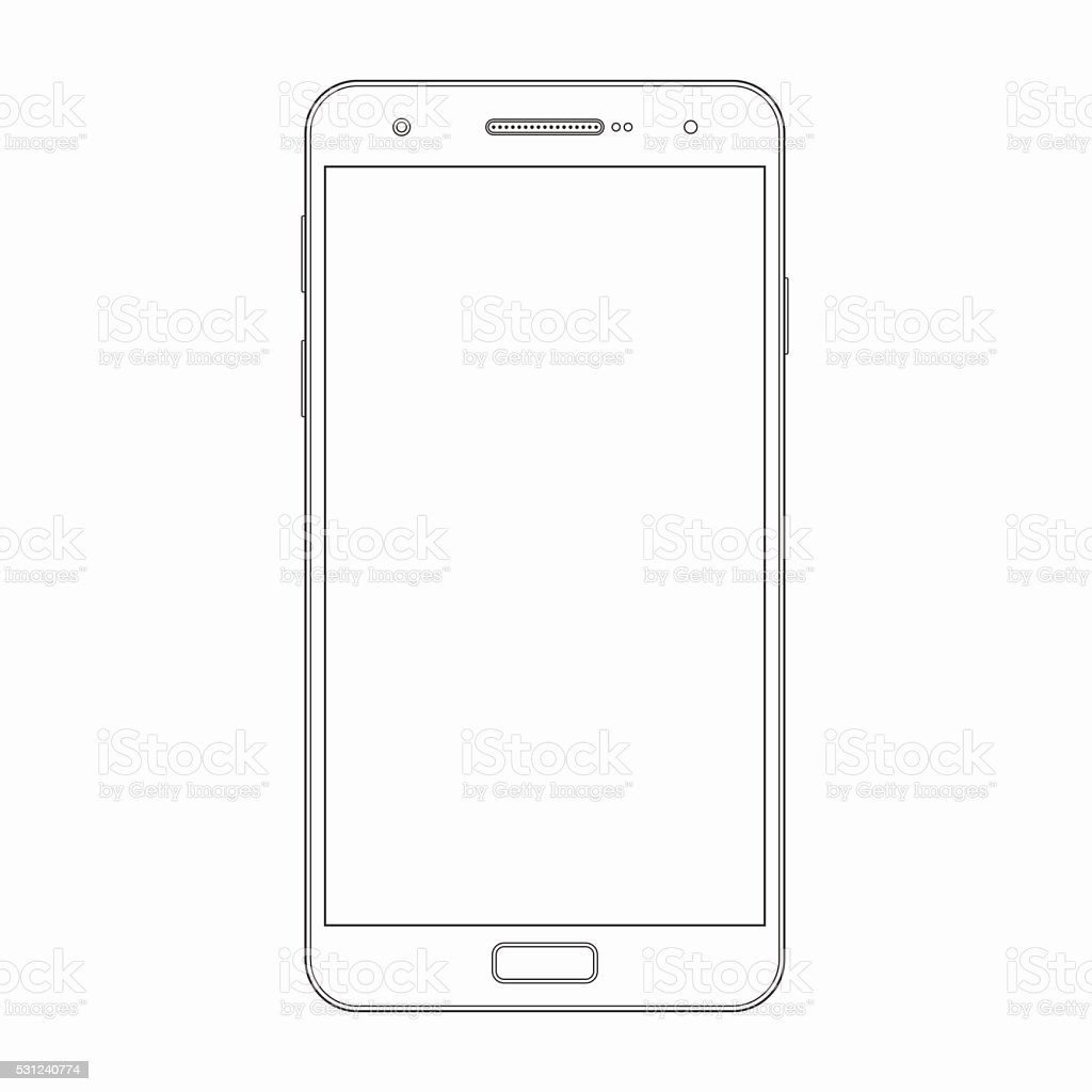 Vector smartphone outline template. Phone icon vector art illustration