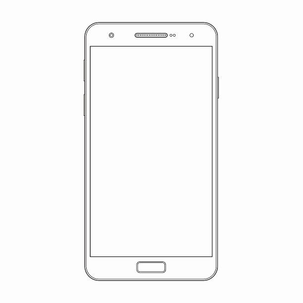 vector smartphone outline template. phone icon - wire frame model stock illustrations