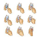 Vector smartphone touchscreen hand gestures set