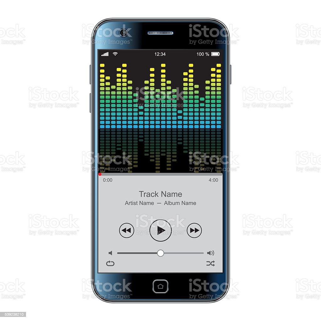 Teléfono inteligente Vector de con efecto Ecualizador ilustración de teléfono inteligente vector de con efecto ecualizador y más banco de imágenes de aparato de telecomunicación libre de derechos