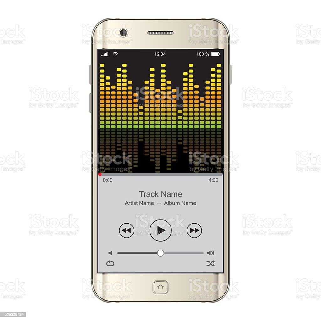 Vector Smartphone with equalizer effect royalty-free vector smartphone with equalizer effect stock vector art & more images of arts culture and entertainment