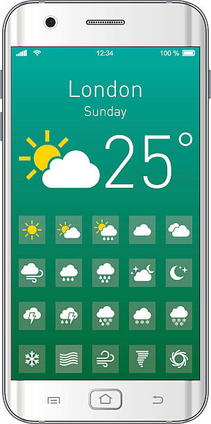 Vector Smartphone with Weather App Smartphone with Weather App. EPS10 layers (removeable) and alternate formats (hi-res jpg, png, pdf).  forked lightning stock illustrations