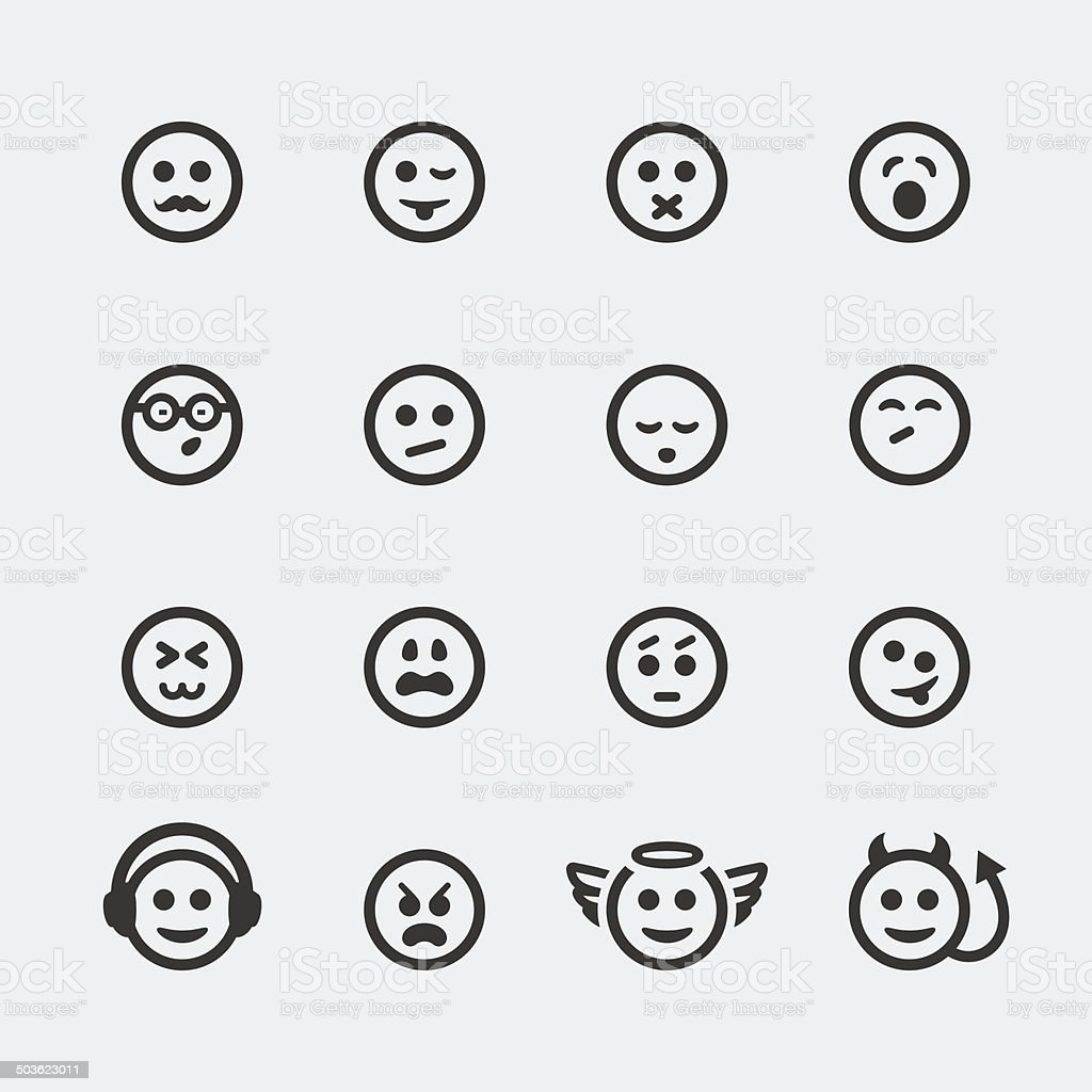 Vector smile mini icons set #2 vector art illustration