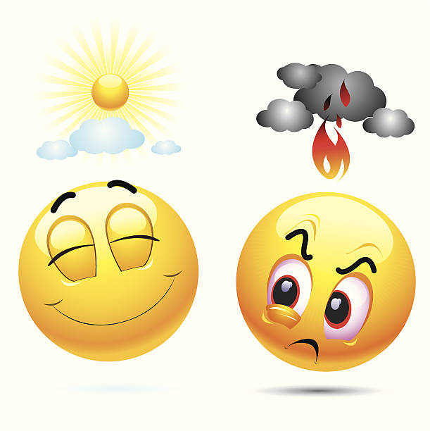 vector smiling and angry emoji - jealous emoji stock illustrations, clip art, cartoons, & icons