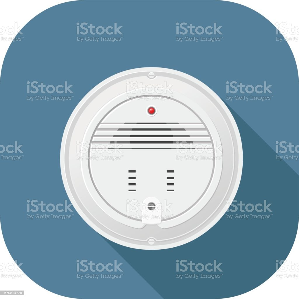 Vector smoke alarm flat icon design. vector art illustration