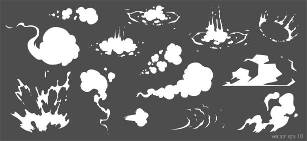 векторный дым устанавливает шаблон спецэффектов. мультфильм паровые облака, слойка, туман, туман, водяной пар или взрыв пыли 2d vfx иллюстраци - white background stock illustrations