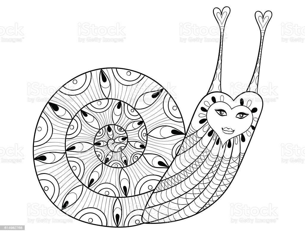 Vector Snail For Adult Coloring Pages Art Therapy E Stock ...
