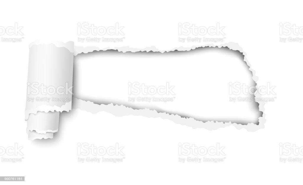 Vektor Schnappte Loch In Weißes Blatt Papier Mit Weichen Schatten ...