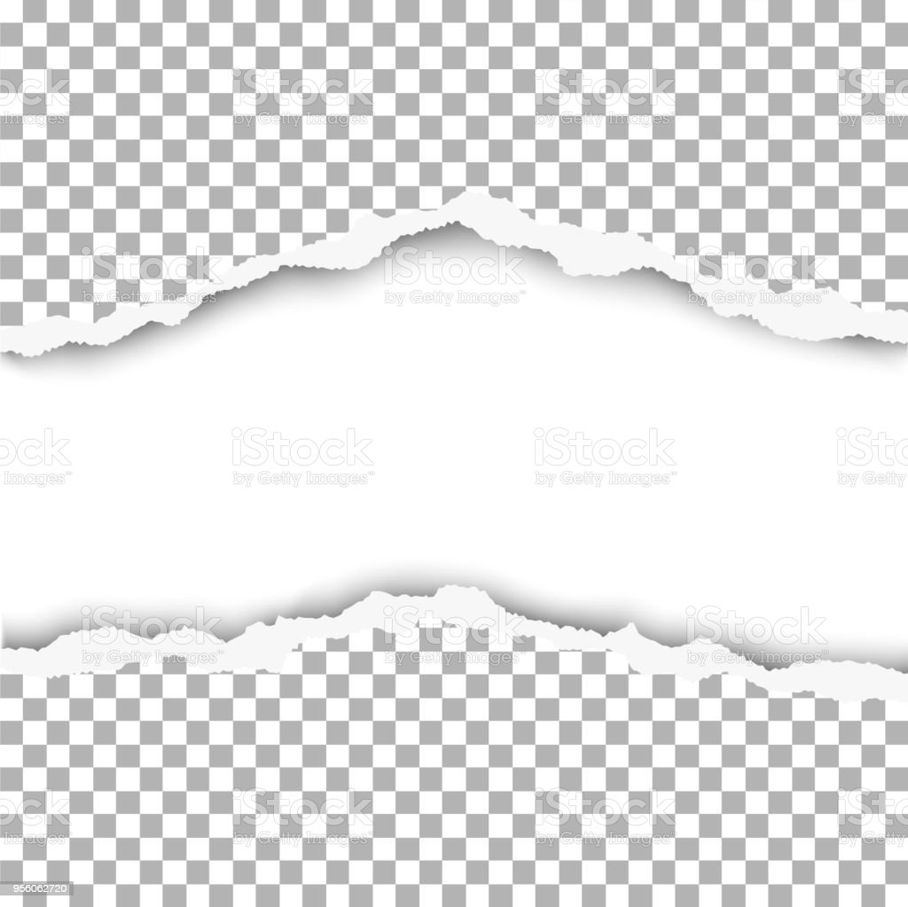 vector snatched middle of paper with white background torn edges