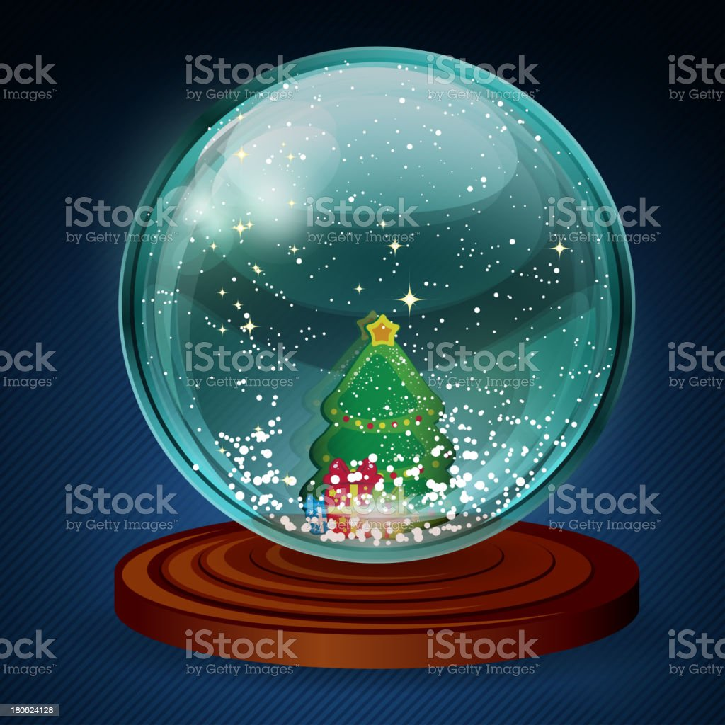 Vector snow ball with christmas tree and presents. royalty-free stock vector art