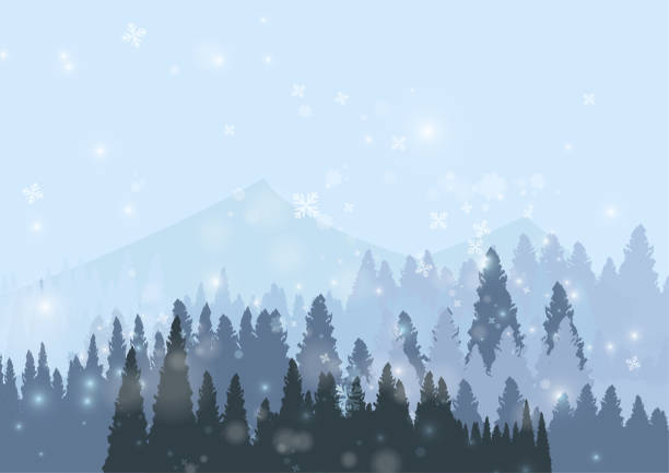 Vector : Snow forest with snowflake on ice background vector art illustration