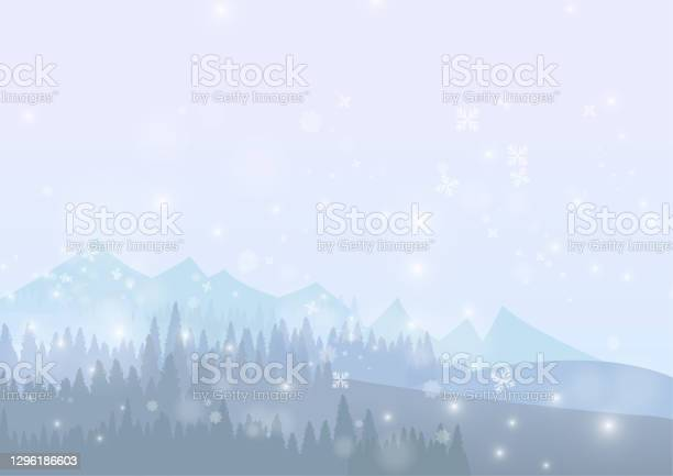 Vector Snow Forest With Snowflake On Ice Background Stock Illustration - Download Image Now