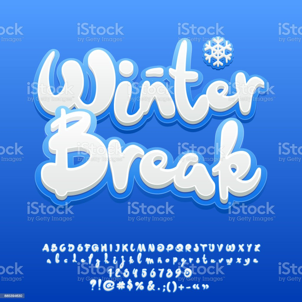 Vector texto bonito de branca de neve férias de inverno - ilustração de arte em vetor