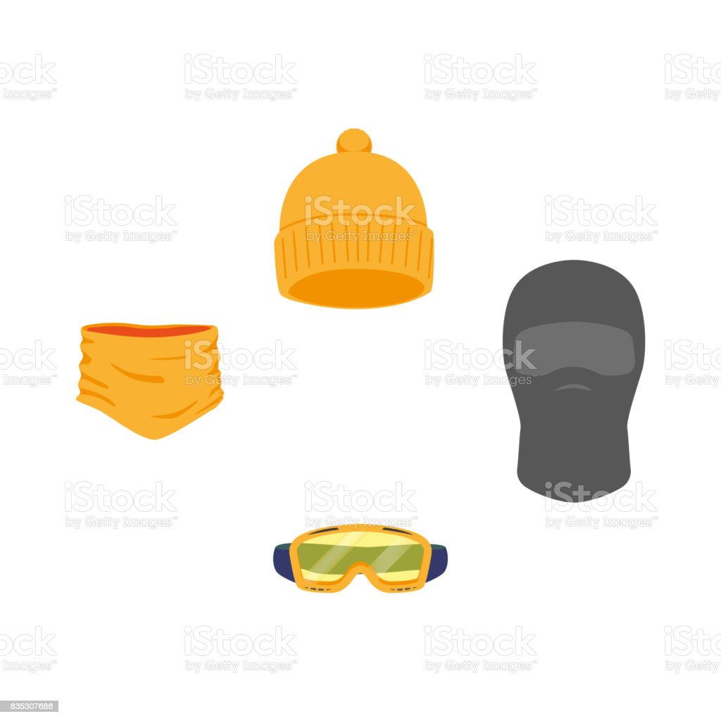 vector snowboarding equipment set flat isolated vector art illustration