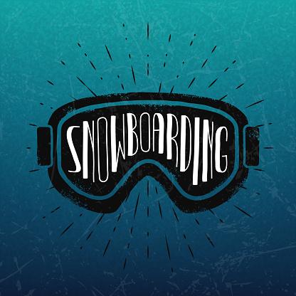 Vector snowboarding label.