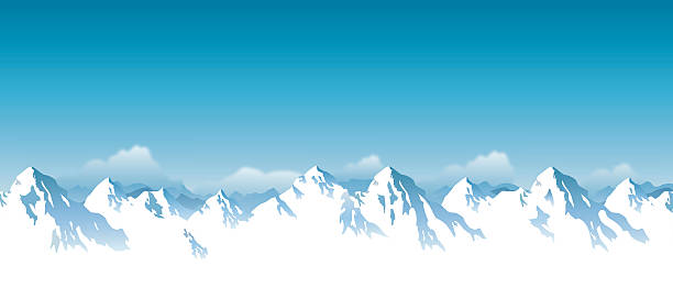vector snowcapped mountain vector art illustration