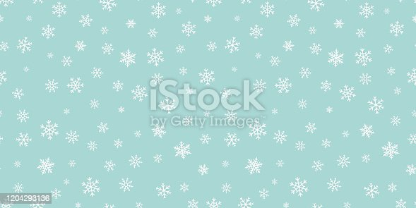 istock Vector snowflakes background. Green Christmas and New Year seamless pattern 1204293136