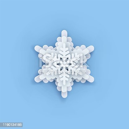 Multilayered Paper Snowflakes Set. Symmetric Papercut snow flake silhouette isolated on blue. Winter season weather decoration icon. Christmas holiday, Noel greeting card. Vector Origami art snowflake