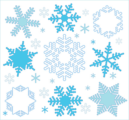 Vector snowflakes in the style of minimalism