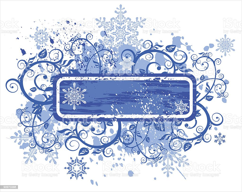 vector snowflakes on blue grunge floral frame royalty-free stock vector art