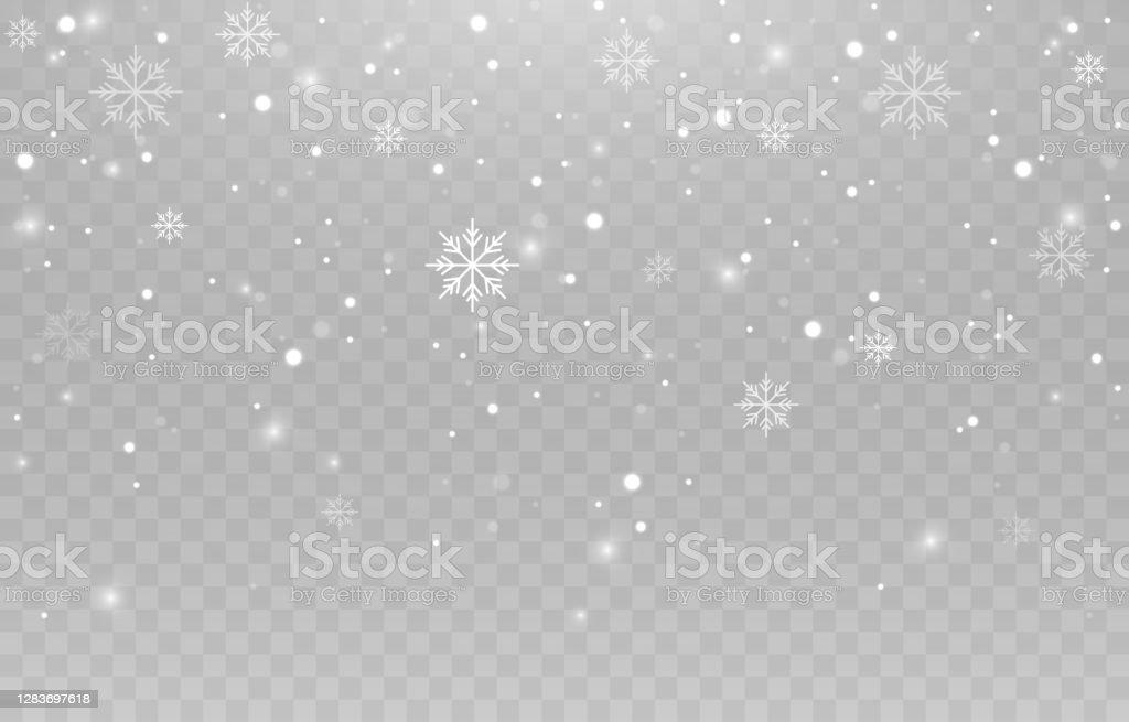 Vektor-Schneeflocken. Schneefall, Schnee. Schneeflocken auf einem isolierten Hintergrund. PNG Schnee. Schneesturm, Weihnachtsschnee. Vektorbild. - Lizenzfrei Fallen Vektorgrafik