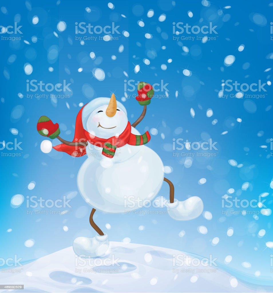 Vektorschneemann Tanz Auf Schnee Hintergrund Stock Vektor