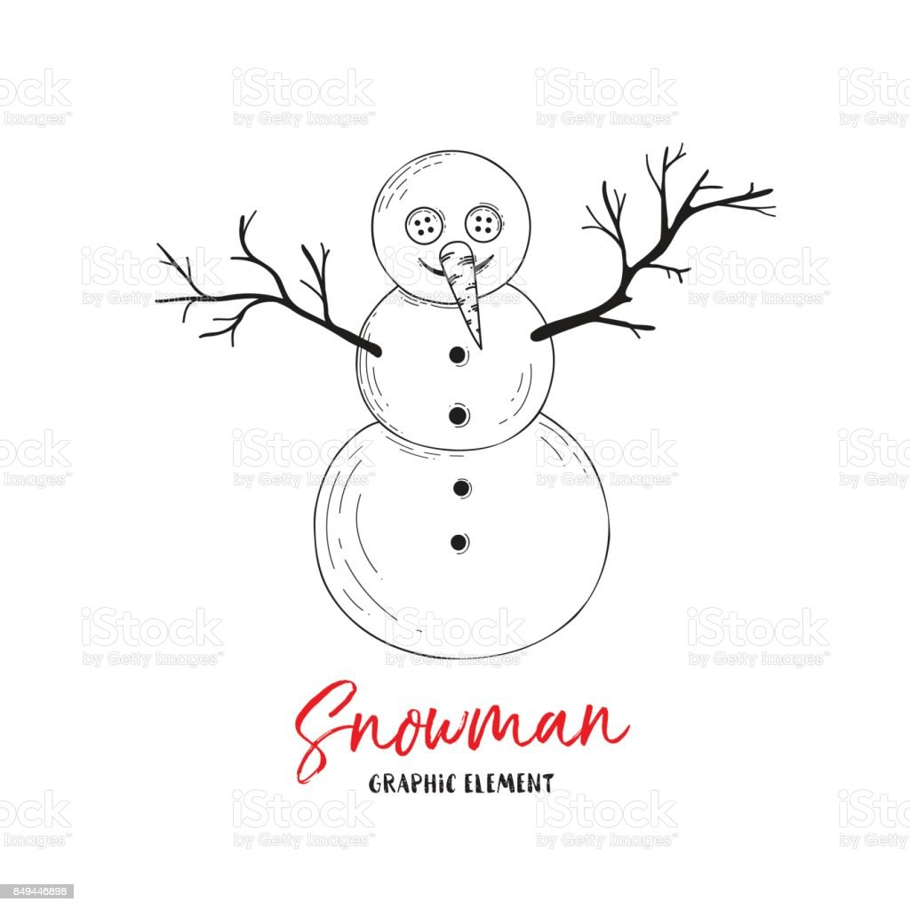 Vector Snowman Illustration For Greeting Cards Invitations And Other ...