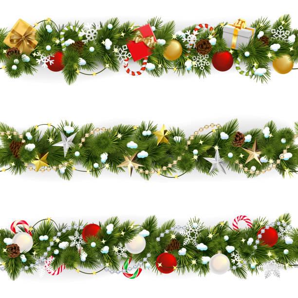 Vektor Verschneit Weihnachten Kiefer Grenze – Vektorgrafik