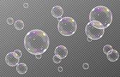 istock Vector soap bubble. Realistic soap bubble png, glare. Foam bubbles png. Powder, soap, detergent. 1296753907
