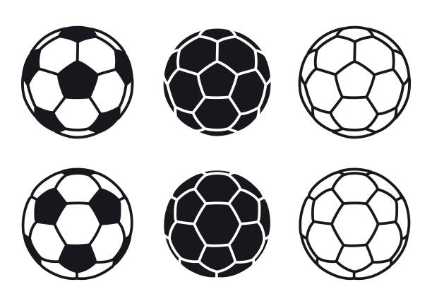 illustrations, cliparts, dessins animés et icônes de icône de boule de football de vecteur sur des fonds blancs - football