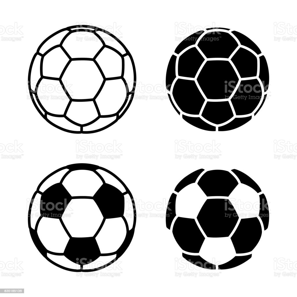 Vector Soccer Ball Icon on White Backgrounds - Векторная графика Без людей роялти-фри