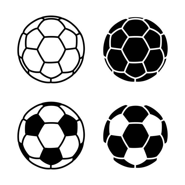 vector soccer ball icon on white backgrounds - football stock illustrations, clip art, cartoons, & icons