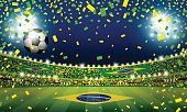Vector soccer ball in the brazil stadium with light