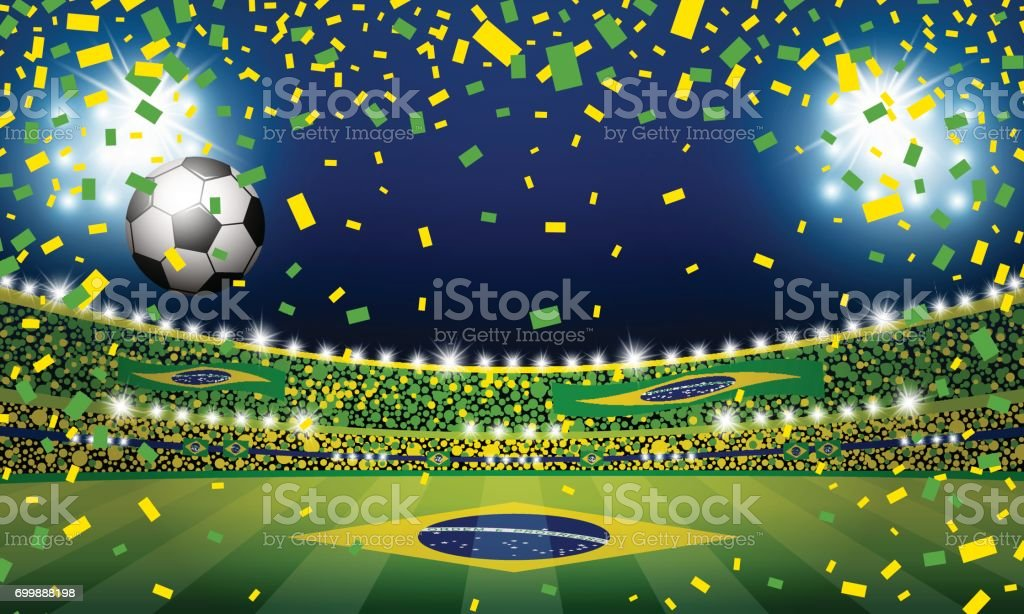 Vector soccer ball in the brazil stadium with light vector art illustration