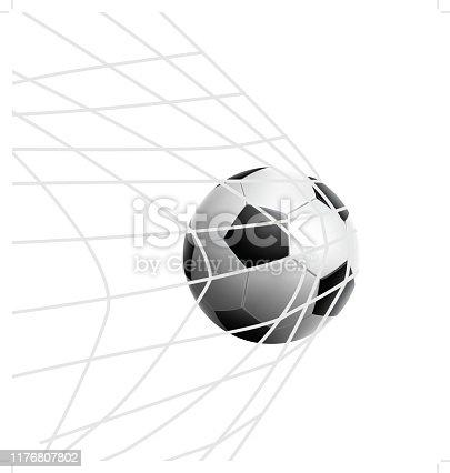 Vector soccer ball in the net