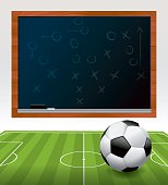 Vector Soccer Ball on Field with Chalkboard Illustration