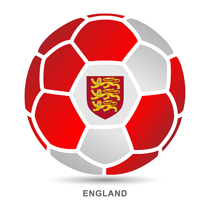 Vector soccer ball with English national flag on White Backgrounds