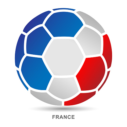 Vector soccer ball with French national flag on White Backgrounds