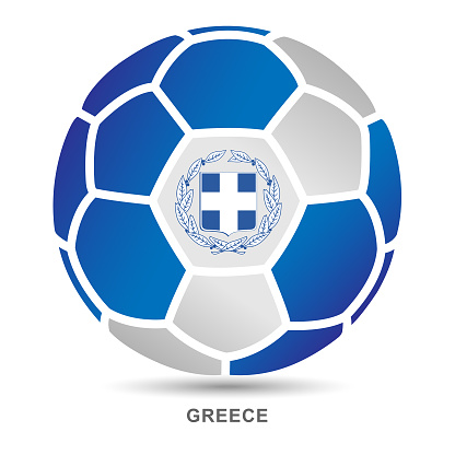 Vector soccer ball with Greece national flag on White Background