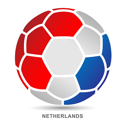 Vector soccer ball with Netherlands national flag on White Background