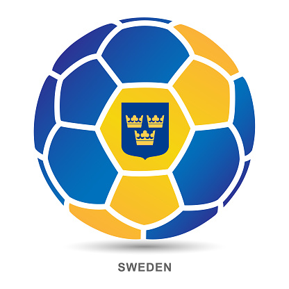 Vector soccer ball with Swedish national flag on White Backgrounds