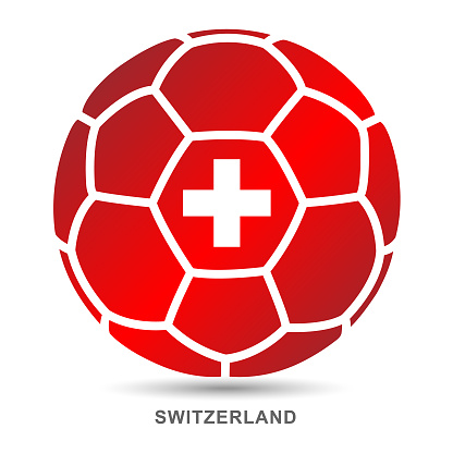Vector soccer ball with Swiss national flag on White Background