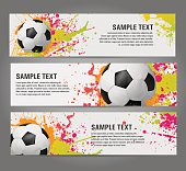 Vector Soccer banners with ball and colorful splashes, stylish football design
