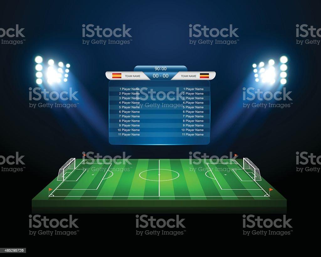 Vektor Fußball Feld mit dem scoreboard, Vektor – Vektorgrafik