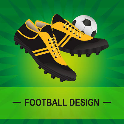 Vector soccer illustration of turf with football boots and ball
