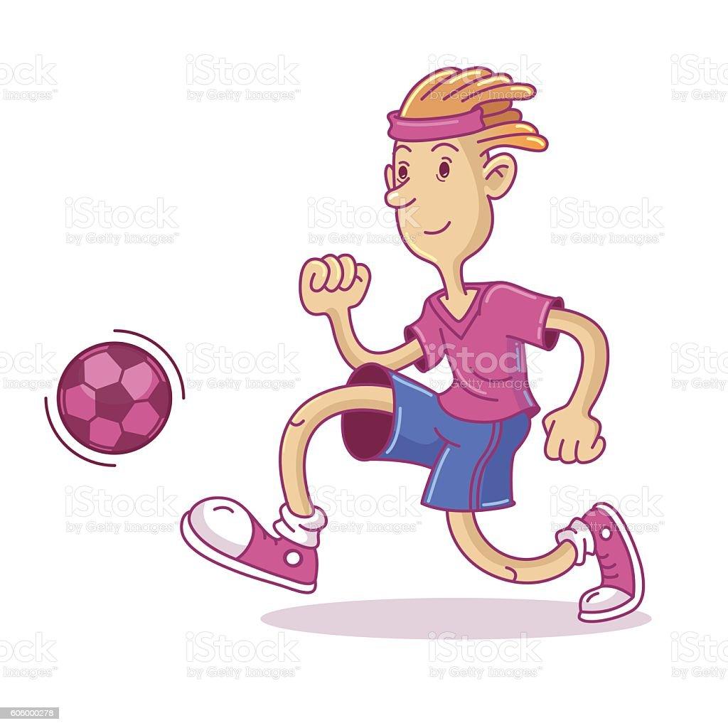 Vector soccer player, character illustration - ilustração de arte em vetor