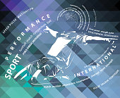 vector soccer (football) poster with athlete figure on abstract background with sport theme inscriptions
