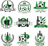 Soccer sports pub icons for live games championship beer pub. Vector isolated symbols of beer drink and football ball or soccer cup champion ribbon or team league cup tournament for pub menu