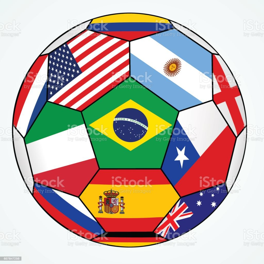 Vector soccer with various flags - Brazil 2014 vector art illustration